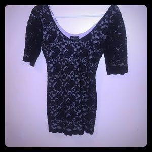 Black lace dress top